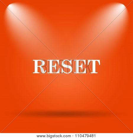 Reset icon. Internet button on orange background. poster
