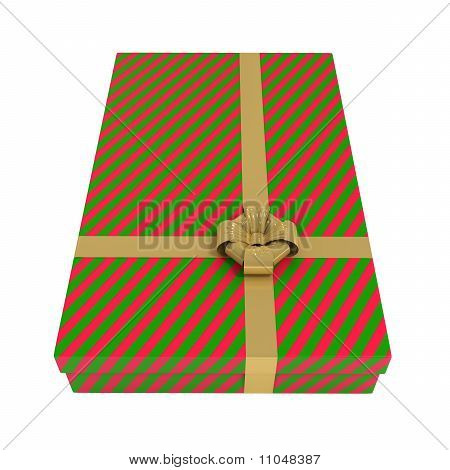 Striped Gift Box, Red and Green, Isolated on White