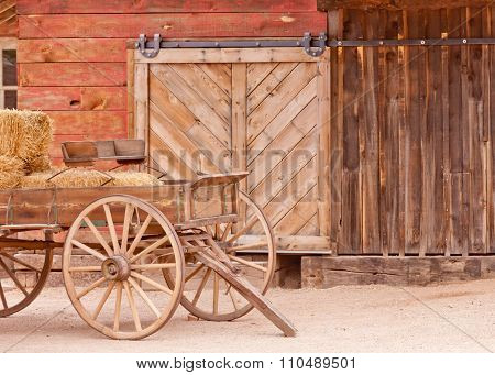 Vintage Western Horse Cart Loaded With Straw Bales