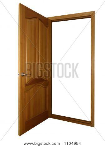 Opened Wooden Door On White