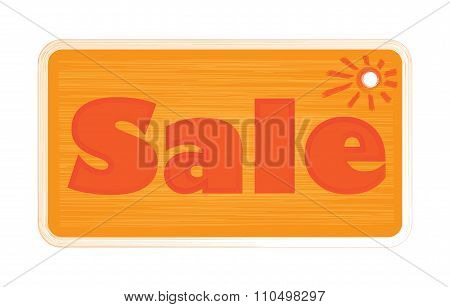 Vector Bright Orange Shades Inscription Word Sale, Painted With A Brush On The Label And The Sun Sht