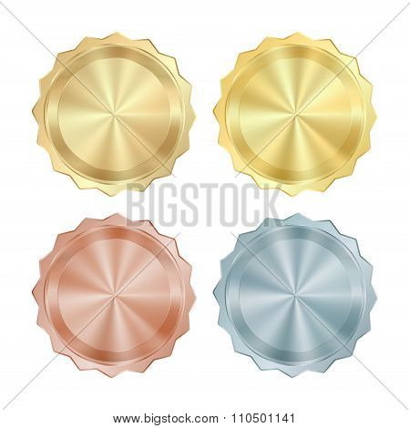 Empty Blank Set Vector Templates For Coin, Price Tags, Sewing Buttons, Buttons, Icons Or Medals With