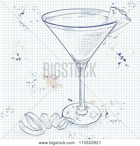 French Martini cocktail on a notebook page, consisting of vodka, raspberry liqueur and freshly squeezed pineapple juice