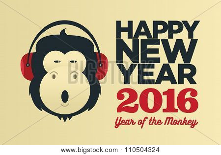Chinese Year Of The Monkey 2016. New Year Vector  Creative Poster.