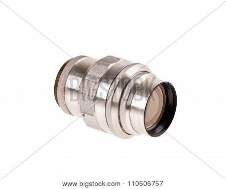 Telephoto metal old lens.