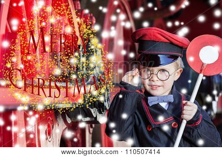 Smiling Train Conductor Boy in Winter - Merry Christmas