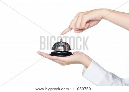 Woman Hand Holding Service Bell And Press Button