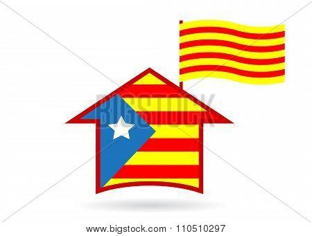 logo flag of Catalonia in Spain .