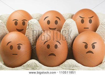 Eggs With Faces And Various Expressions.