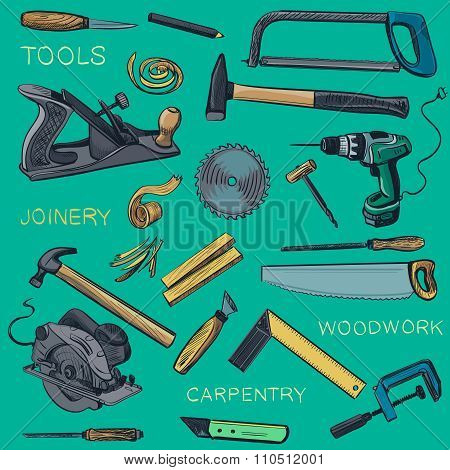Collection of hand drawn Carpentry, woodworker, joinery icons
