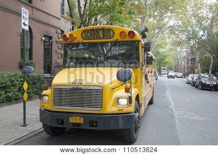 School Bus Waits On The Street In Broolyn Heights