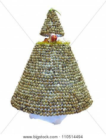 Abstract Creative Christmas Tree Made From Partridge Egg Isolated Over White
