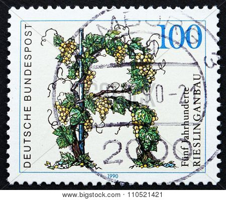 Postage Stamp Germany 1990 Riesling Vineyards, Germany