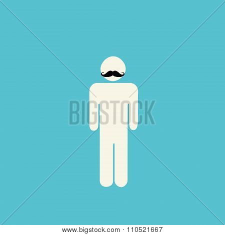 Movember Prostate Cancer Awareness - Stick Figure With Mustache On Blue Background.