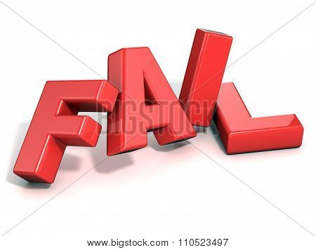 Fail concept. Red letters isolated
