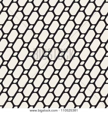 Vector Seamless Black And White Diagonal Line Grid Rounded Ellipse Shape Pattern