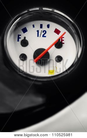 Motorcycle moped fuel gauge gage display at empty point