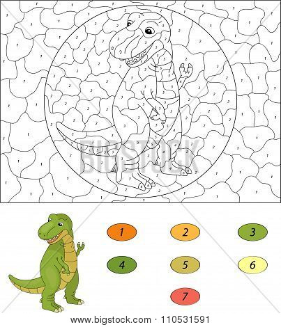 Color By Number Educational Game For Kids. Cartoon Tyrannosaur. Vector Illustration