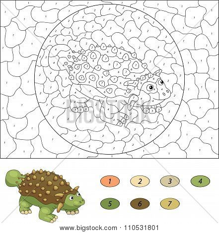 Color By Number Educational Game For Kids. Cartoon Ankylosaurus. Vector Illustration