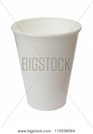 Plain White Plastic Cup On White