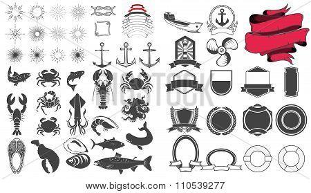 Seafood Emblem Design Elements Set