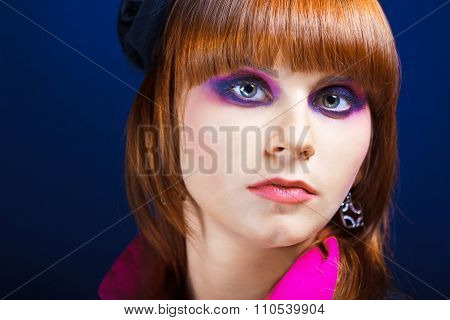 Close-up portrait of a beautiful young lady