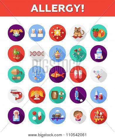 Set of vector flat design allergy and allergen icons and infographics elements poster