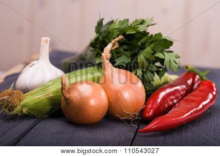 Set Of Ingredients Vegetables