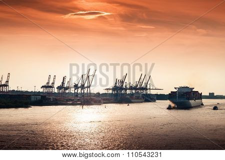 Sunset At Hamburg Harbor