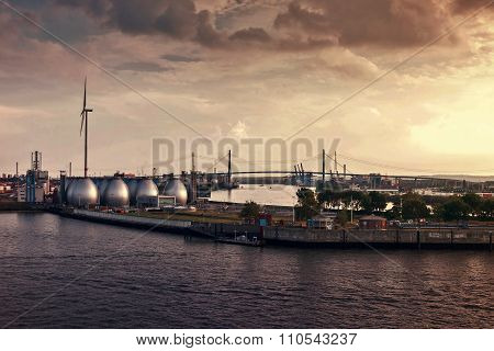 Evening In The Hamburg Harbor