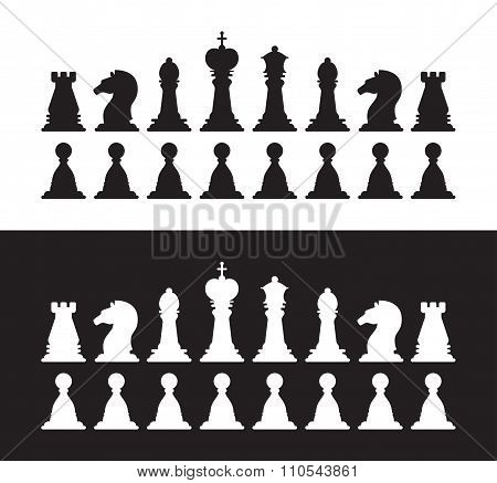 Isolated black and white chess silhouettes. Collection of the king, queen, bishop, knight, rook, paw