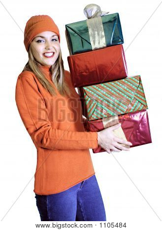 Young Lady With Gift Bags (Christmas / Birthday / Valentines)