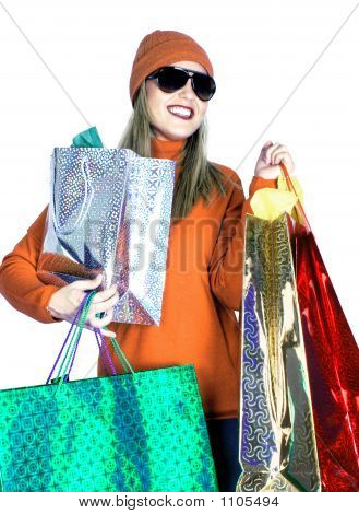 Young Lady With Gift Bags (Christmas / Birthday)