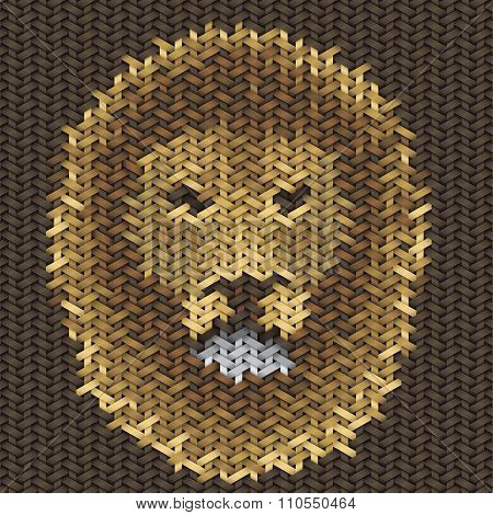 Lion Head Embroidery On Fabric Pattern