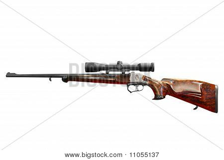 hunting rifle with scope isolated