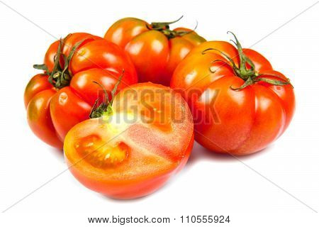Beefsteak Tomatoes, Isolated On White