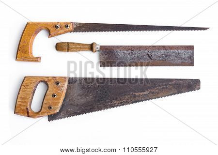 saw / old handsaws isolated - vintage tools