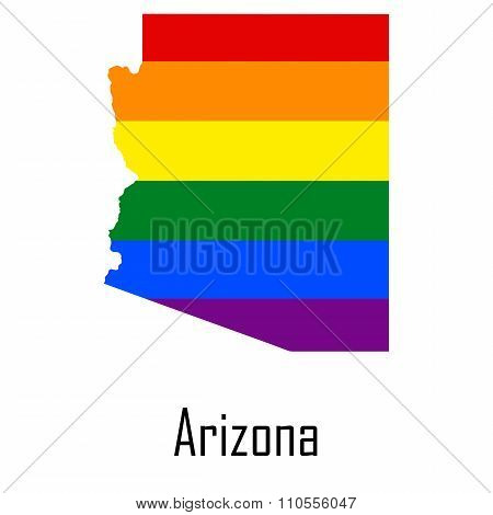 Vector Rainbow Map Of Arizona In Colors Of Lgbt - Lesbian, Gay, Bisexual, And Transgender - Pride Fl