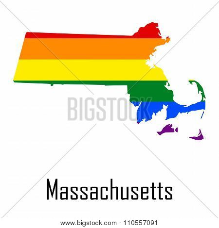 Vector Rainbow Map Of Massachusetts In Colors Of Lgbt - Lesbian, Gay, Bisexual, And Transgender - Pr