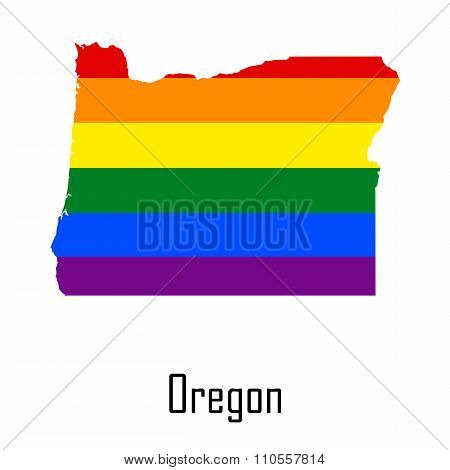 Vector Rainbow Map Of Oregon In Colors Of Lgbt - Lesbian, Gay, Bisexual, And Transgender - Pride Fla