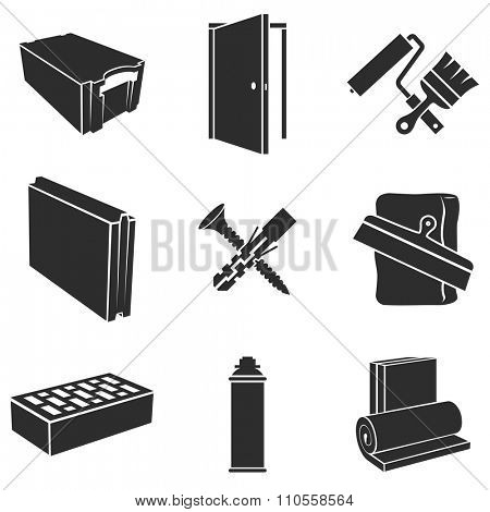 Building materials black and white vector set.