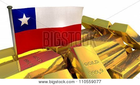 Chilean economy concept with gold bullion