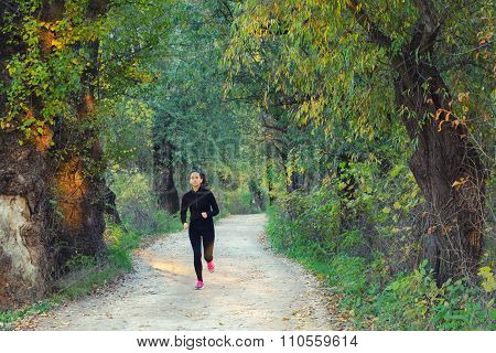 Beautiful Slim And Fit Girl Running In Nature On Sunny Autumn Day