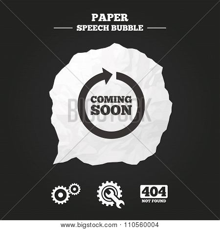 Coming soon rotate arrow icon. Repair service tool and gear symbols. Wrench sign. 404 Not found. Paper speech bubble with icon. poster