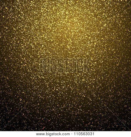 Vector gold glitter dust texture Twinkling glitter. Abstract glittering wave poster