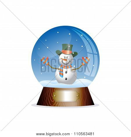 Christmas Toy Snow Globe With A Snowman