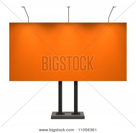 Blank Orange Billboard, Isolated On White With Clipping Path