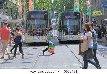 Melbourne tram jaywalker