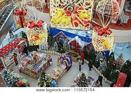 Ulaanbaatar, Mongolia-Dec,04 2015:Christmas purchase in Big State mall in Ulaanbaatar