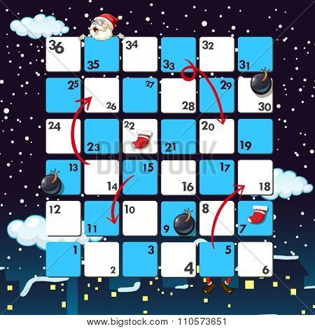 Boardgame template with santa at night illustration